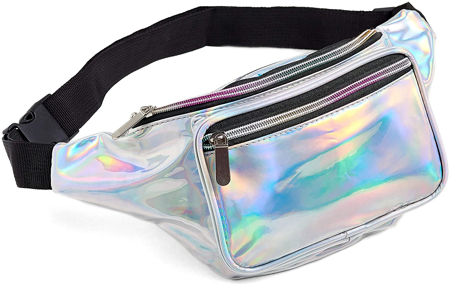 Women Ships 1 Day Men Pink Holographic Music Festival Rave Holographic Fanny Pack | FAST SHIPPING