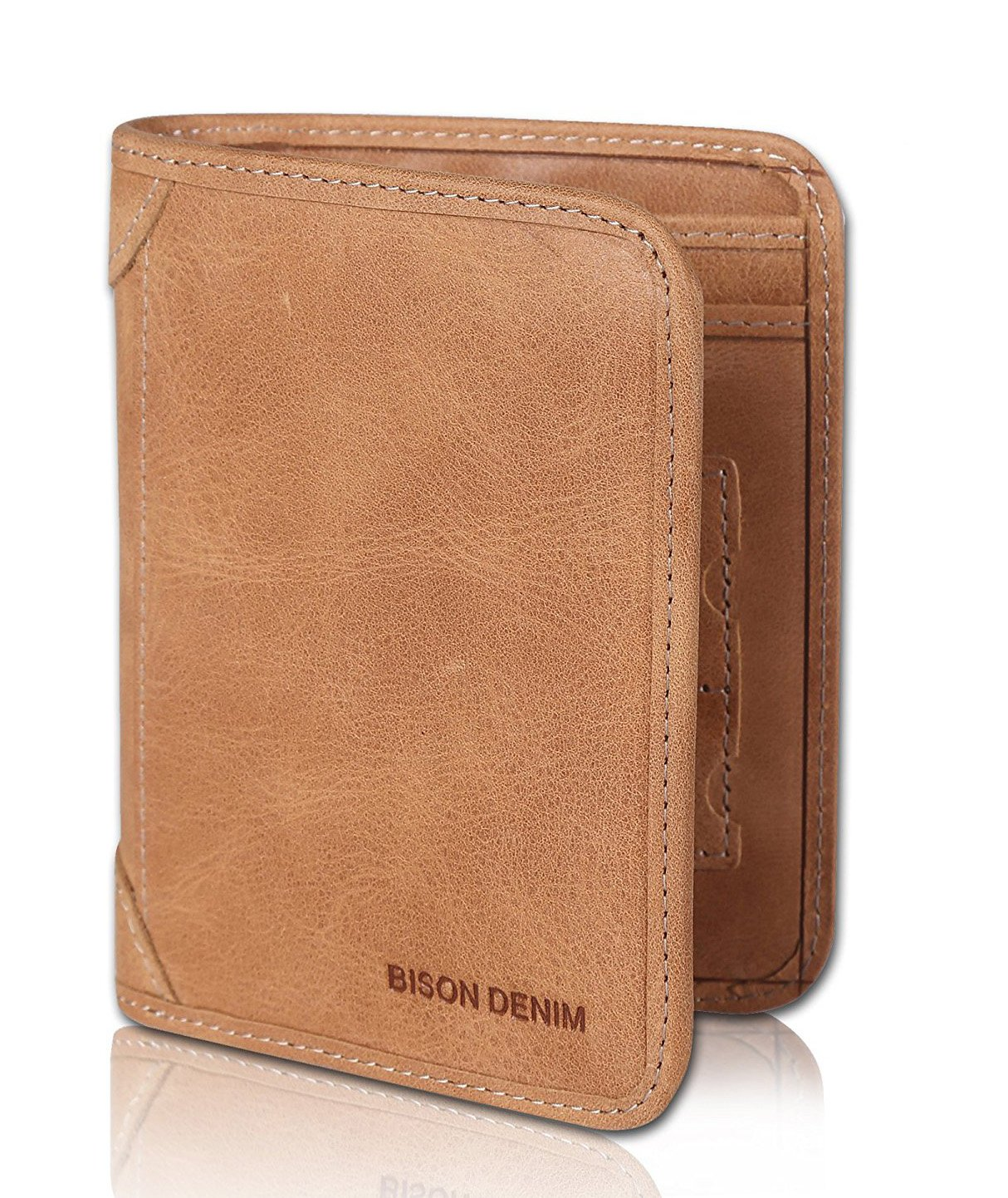 BISON DENIM RFID Blocking Bifold Wallet Front Pocket Genuine Leather Wallets Thin Credit Card Holder for Mens Womens N4321-1