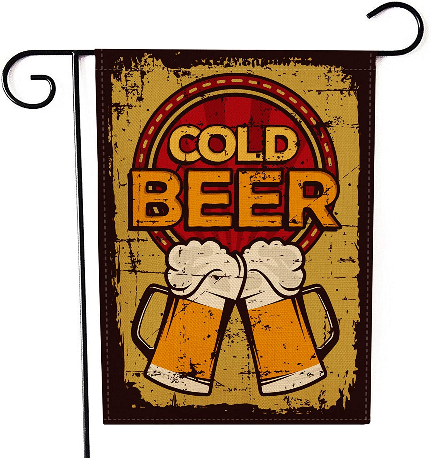 SZSJ Welcome Garden Flag Cold Beer Summer Small Vertical Double Sided 12 x 18 Inch Burlap Yard Outdoor