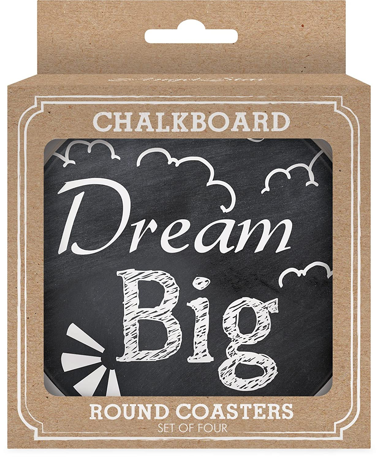 Multicolor Angelstar 13422 Chalkboard Round 4 Piece Coaster Set 4