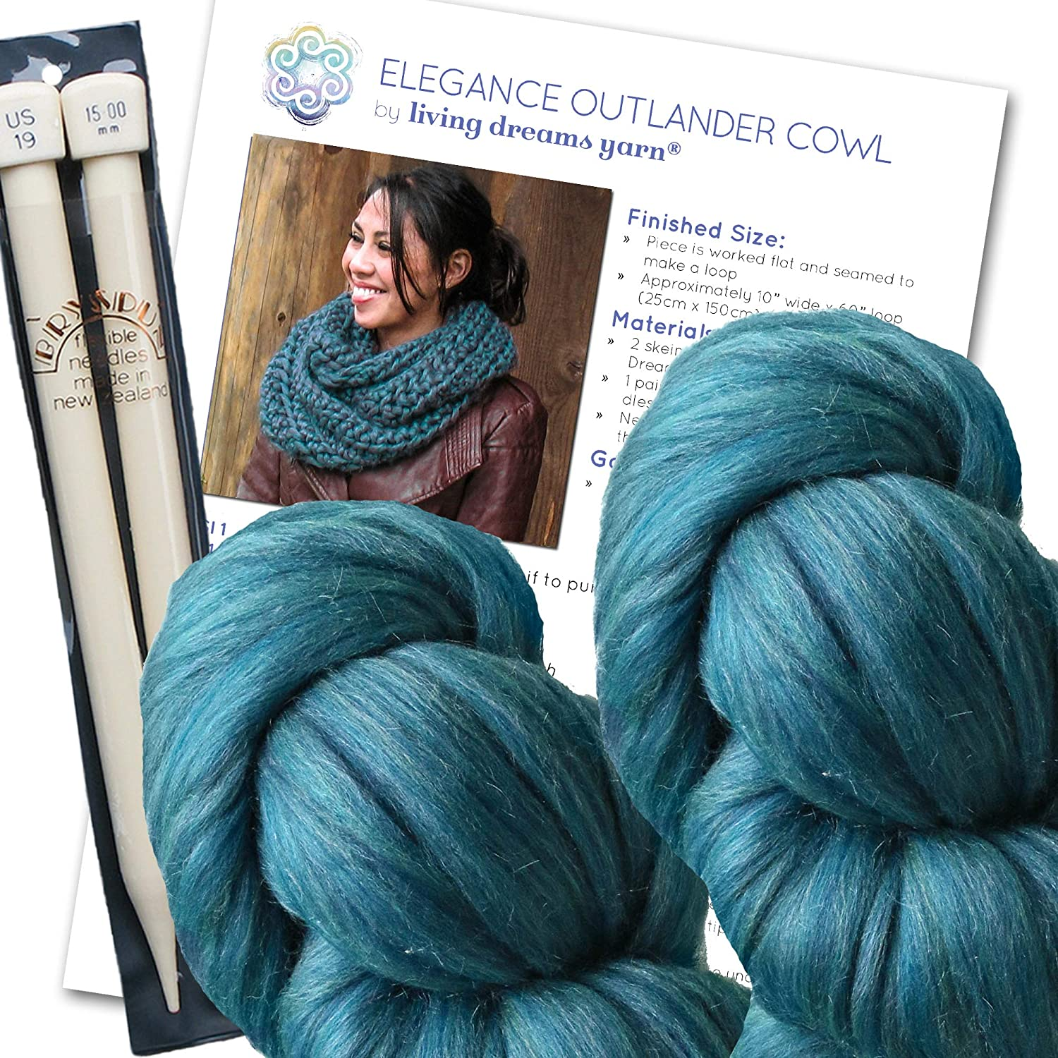 B00OQT6352 Elegance Outlander Cowl Knit Kit Includes Super Soft Merino Silk Yarn, Big Needles and Written Pattern with Photo Tutorial. Color: Sapphire 81FcoQ0fV9L