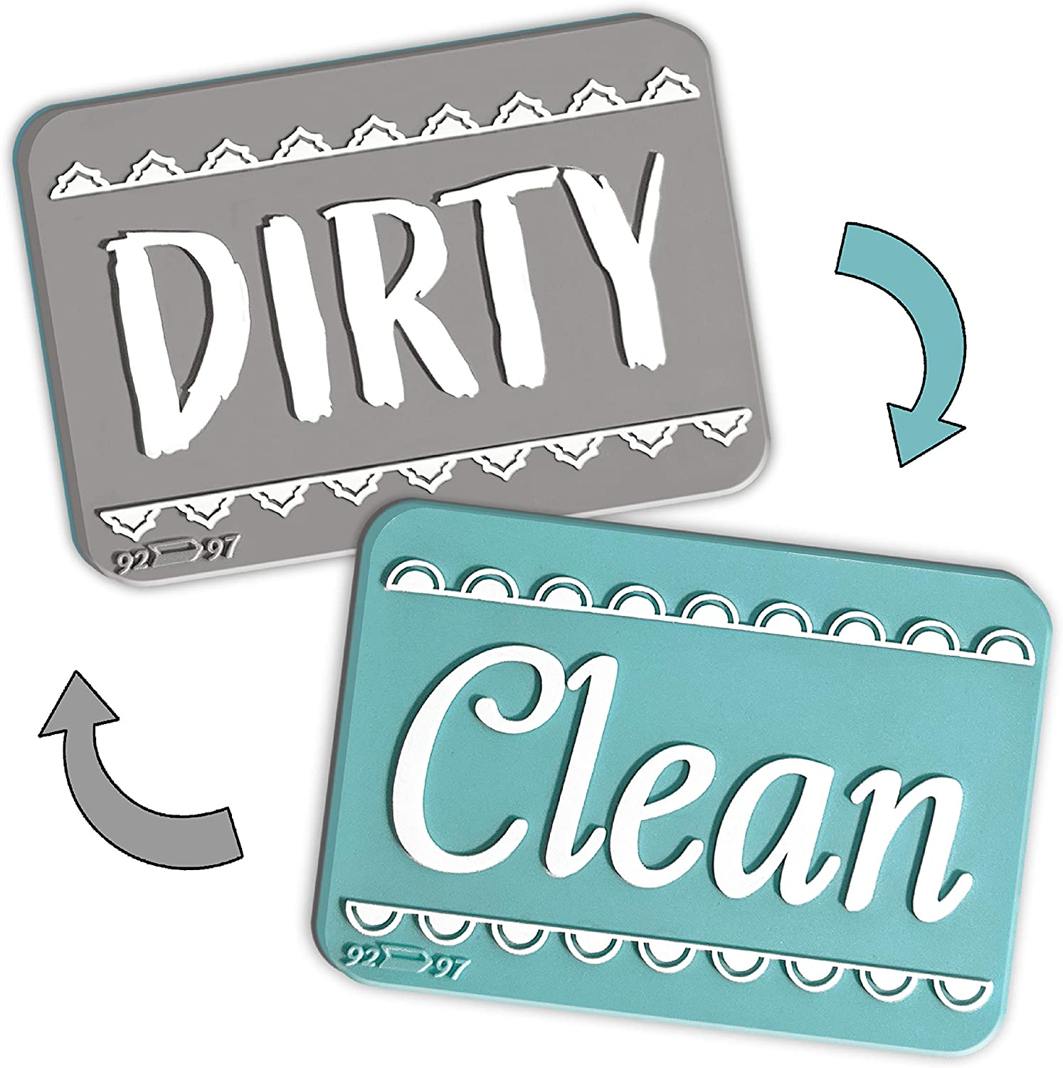 Brothers Bench Aquamarine Silver Clean Dirty Dishwasher Magnet Sign, Double Sided Dish Washer Indicator, Strong Non Surface Scratching Universal Magnet – Kitchen Safe, Waterproof, and Reversible