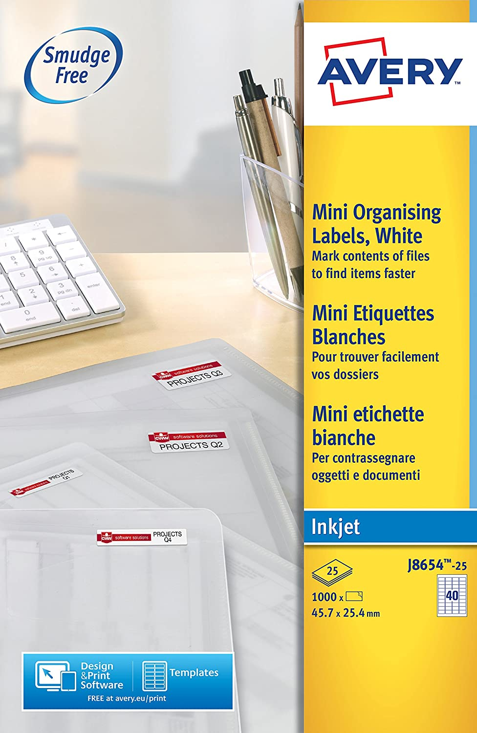 Avery Self Adhesive Address Mailing Labels 1000 labels Inkjet Printers J8654 40 Labels per A4 Sheet QuickDRY