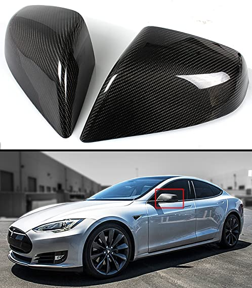 FOR 2012-16 TESLA MODEL S DIRECT ADD-ON REAL CARBON FIBER SIDE MIRROR COVERS CAP