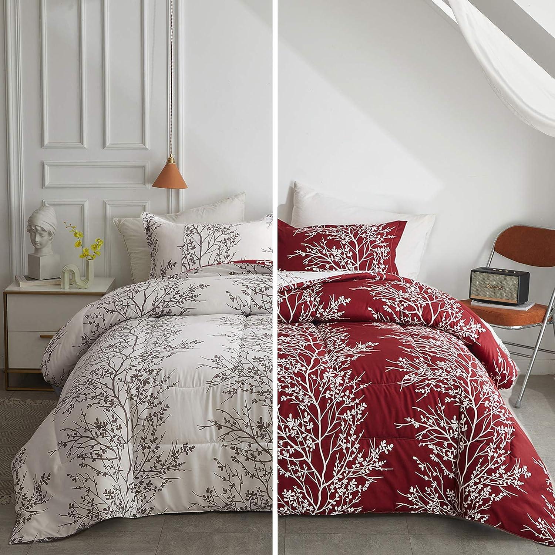 FlySheep Queen Burgundy Red Comforter Set Tree Pattern, Branch Floral White/Burgundy Red Reversible 3 Piece Modern Bedding Set for Men and Women for All Season