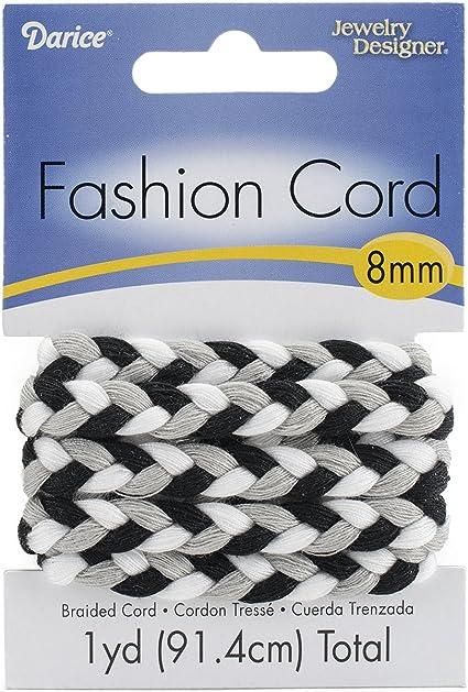 Darice Braided Fashion Cord 8mmX1yd-Black /& White