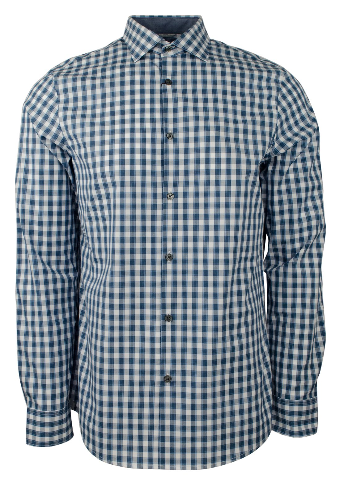 Michael Kors Men's Long Sleeve Plaid Striped Cotton Tailored Fit Shirt-PB-M