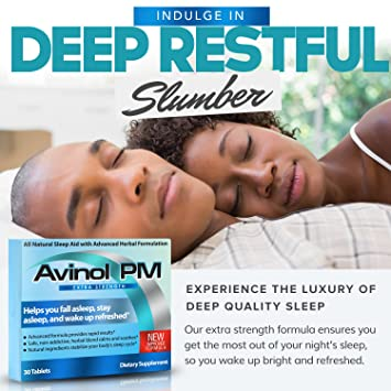 Amazon.com: Avinol PM Extra Strength   All-In-One Natural Sleep Aid for Deep Restful Sleep – Relieve Insomnia & Jet Lag (30 ct): Health & Personal Care