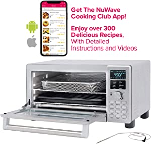 NUWAVE BRAVO XL 1800-watt Countertop Convection Oven with Flavor Infusion Technology (FIT) with Integrated Temperature Probe for Perfect Results; 12 Programmed Presets; 3 Fan Speeds; 5-Quartz Heating Elements; Get the Cooking Club App with Over 300 Recipes