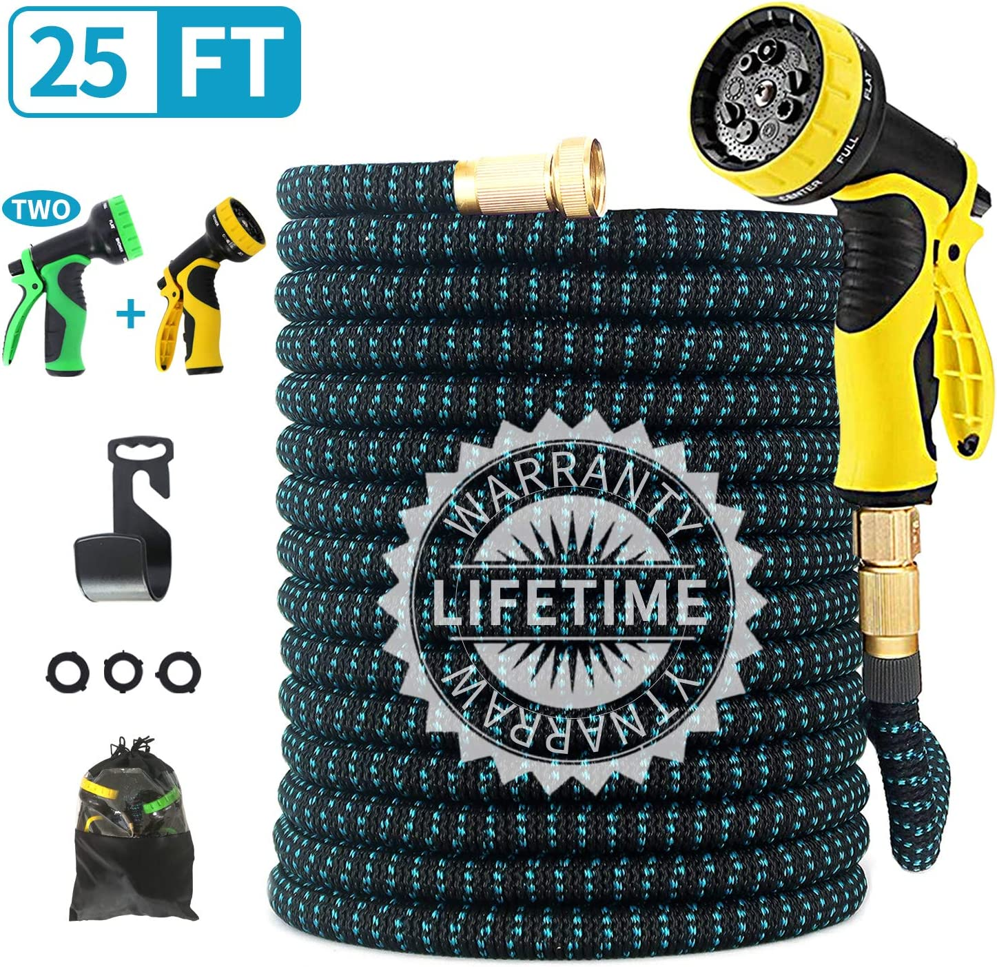 "FIENVO 25 ft Upgraded Expandable Durable No-Kink Flexible Garden Water Hose Set with Extra Strength Fabric Triple Layer Latex Core,3/4"" Solid Brass Connectors 9 Function Spray Hose Nozzle"