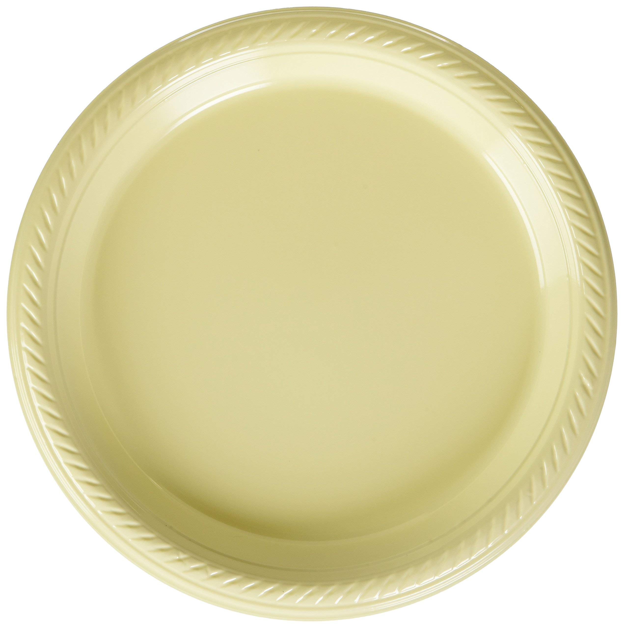 Big Party Pack Vanilla Crème Plastic Plates | 7'' | Party Supply | 300 ct. (Renewed)