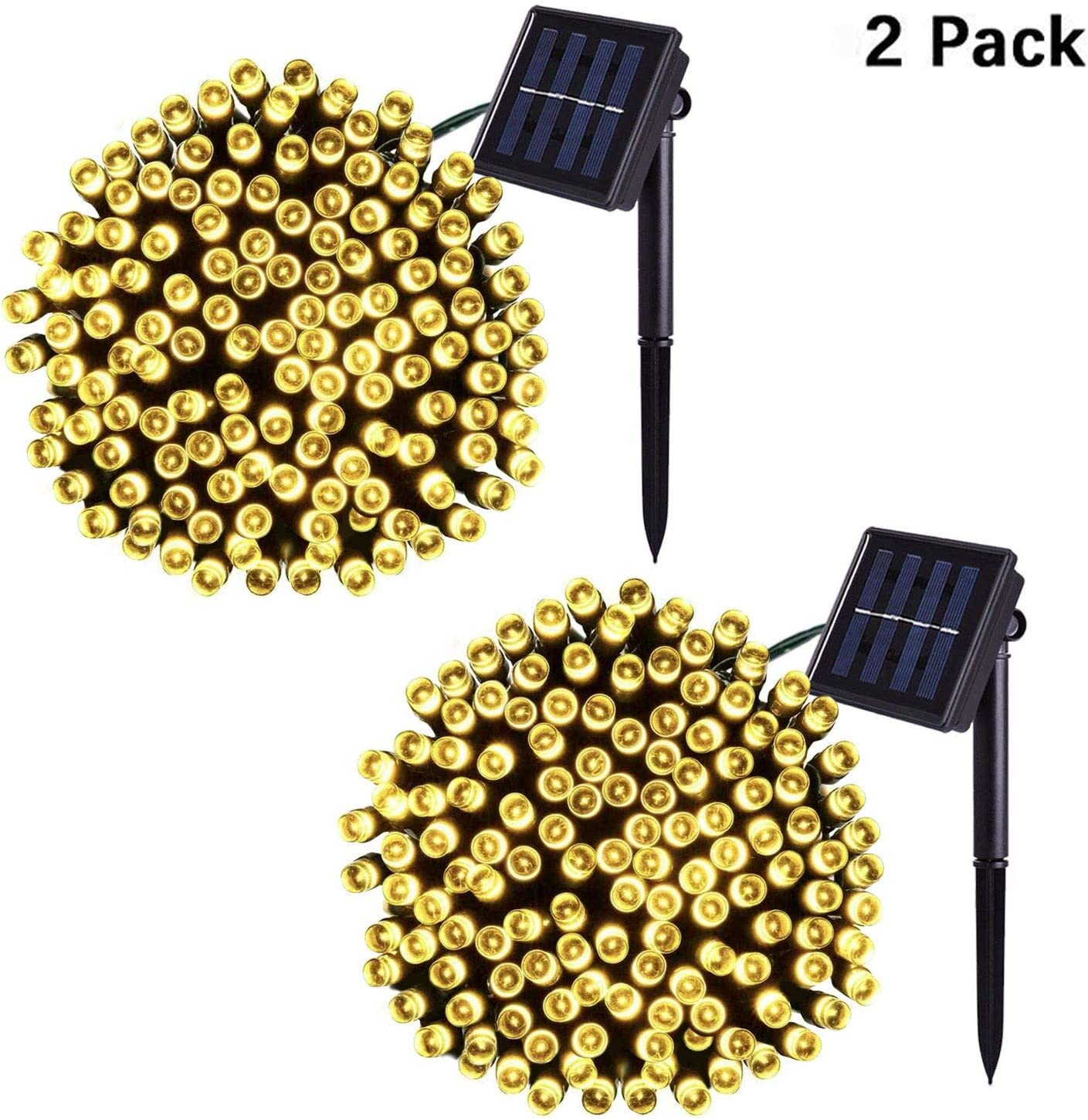 Jiamao 2 Pack 200LED 75.5ft Solar String Light