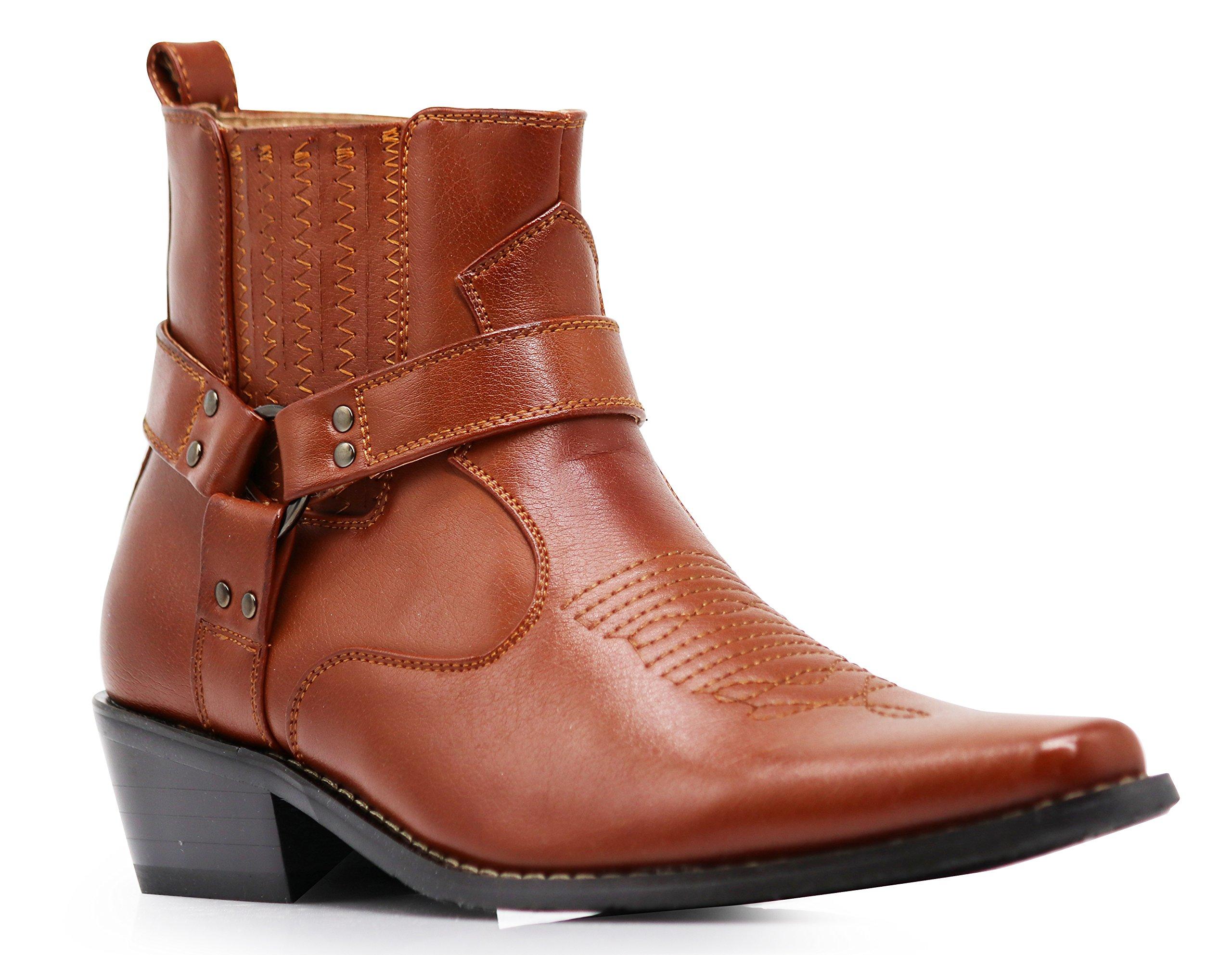 Alberto Fellini Men's Western Boots (West01) (Brown, 8.5)