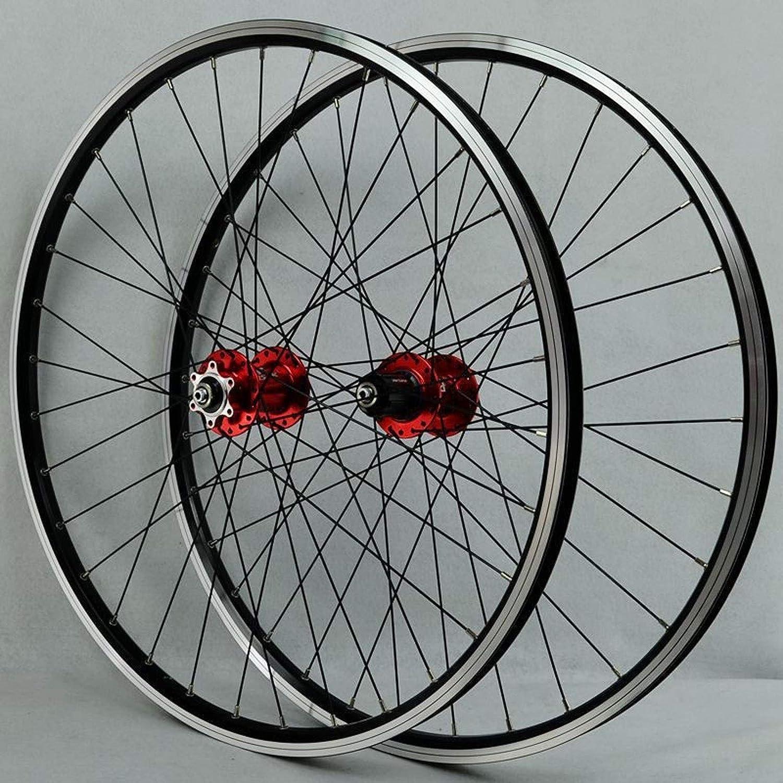 NS Juego Ruedas Bicicleta Montaña 26 Pulgadas Pared Doble Aluminio Freno De Disco/V Ruedas BTT Bici Frente 2 Trasero 4 Palin 32 Hoyos 7-11 Velocidades (Color : Red hub)