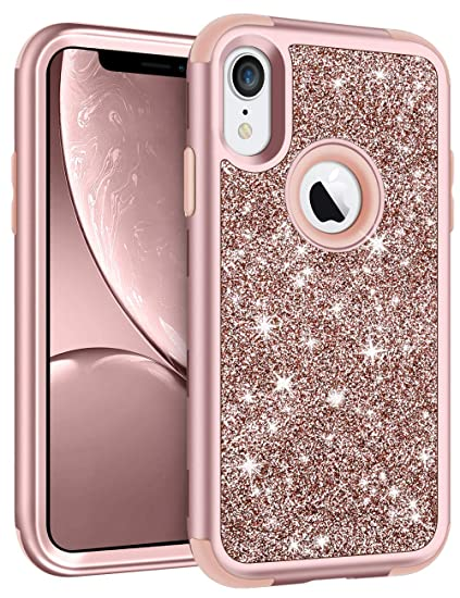 online retailer 940fd 17df1 Vofolen Bling Case for iPhone XR Case iPhone 10R Cover Glitter Full-Body  Protection Heavy Duty Hybrid Protective Hard Shell Silicone Rubber Armor  with ...