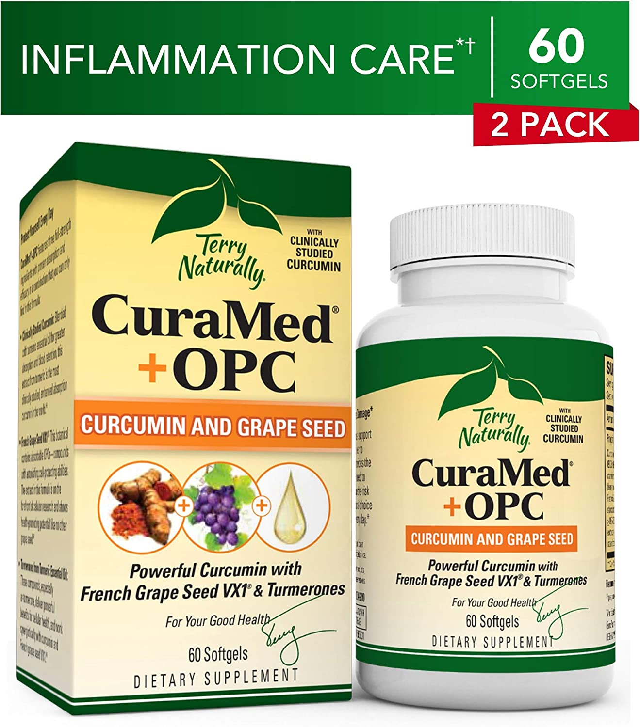Terry Naturally CuraMed OPC 2 Pack – 60 Softgels – BCM-95 Curcumin French Grape Seed VX1 Supplement, Supports Brain, Heart, Colon, Prostate Liver – Non-GMO, Gluten-Free – 60 Total Servings
