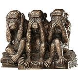 Design Toscano PD0093 Hear-No, See-No, Speak-No Evil Monkeys Animal Statue Three Truths of Man Figurine, 7 Inch, Polyresin, B