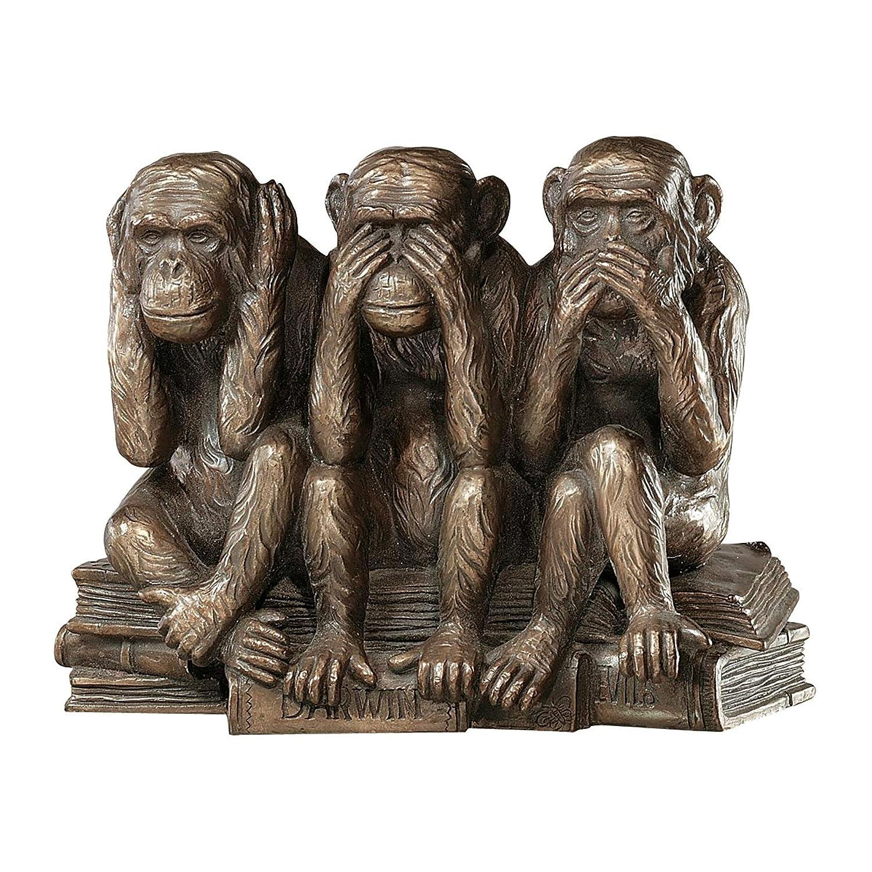 Amazon com design toscano hear no see no speak no evil monkeys animal statue three truths of man figurine 7 inch polyresin bronze finish garden