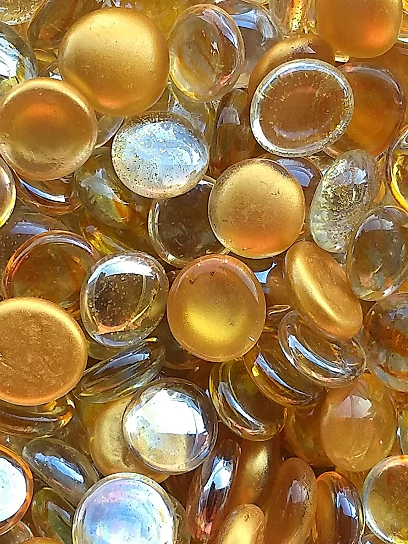 WeJe Glass Gems Standard 17-21mm Round Clear Flat Back Marbles for Home Decor Art Craft Vase Filler Aquarium Gravel (80 OZ (5 LBS), Gold Mix)