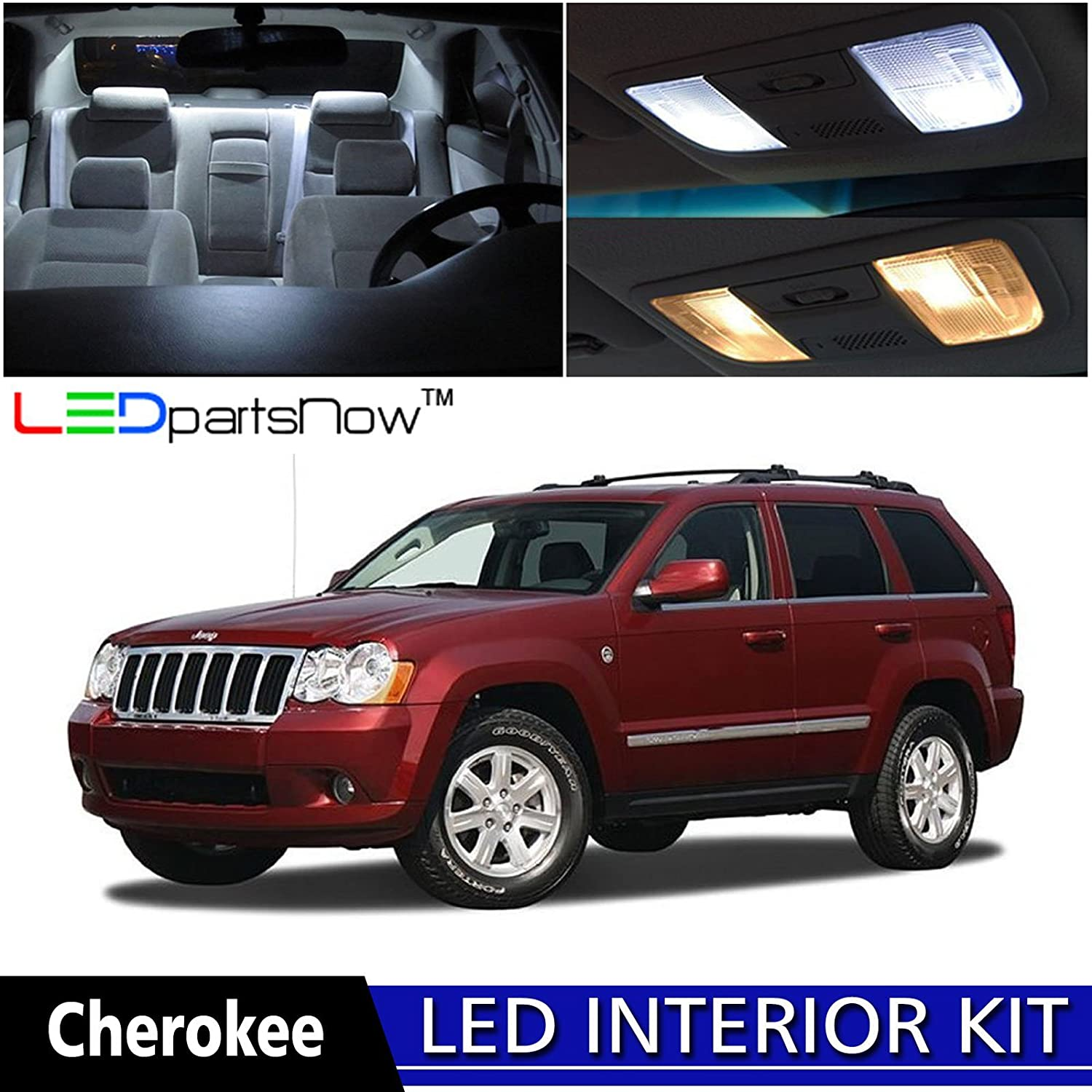 Ledpartsnow 2005 2010 Jeep Grand Cherokee Led Interior Headlight Wiring 2006 Srt8 Lights Accessories Replacement Package Kit 9 Pieces White Automotive