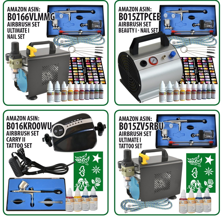 OPTIMALES Airbrush-Kit f/ür alle FEINARBEITEN zum K AMUR AIRBRUSH KOMPRESSOR Profi AirBrush SET CARRY II ROSA LIMITIERTE AKTION! Airbrush Kompressor SET f/ür Airbrushfarbe HOCHWERTIGE AIRBRUSHPISTOLE DOUBLE ACTION 180D mit 0,2mm Nadel//D/üse