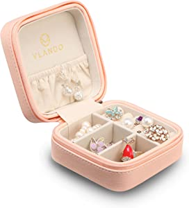 Vlando Macaron Small Jewelry Box, Travel Storage Case for Rings and Earrings - Pink