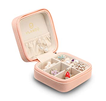 Vlando Macaron Small Jewelry Box, Travel Storage Case For Rings And  Earrings   Pink