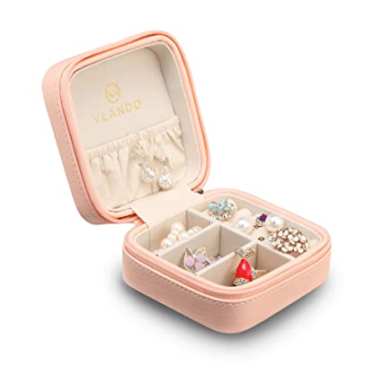 Great Vlando Macaron Small Jewelry Box, Travel Storage Case For Rings And  Earrings   Pink