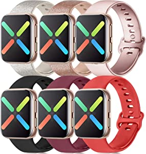 Silicone Bands Compatible with Apple Watch Bands 38mm 40mm 42mm 44mm, Soft Wristbands Compatible with iWatch Bands (Glitter Rose/Glitter Silver/Rose Gold/Black/Wine Red/Red, 38mm/40mm-S/M)