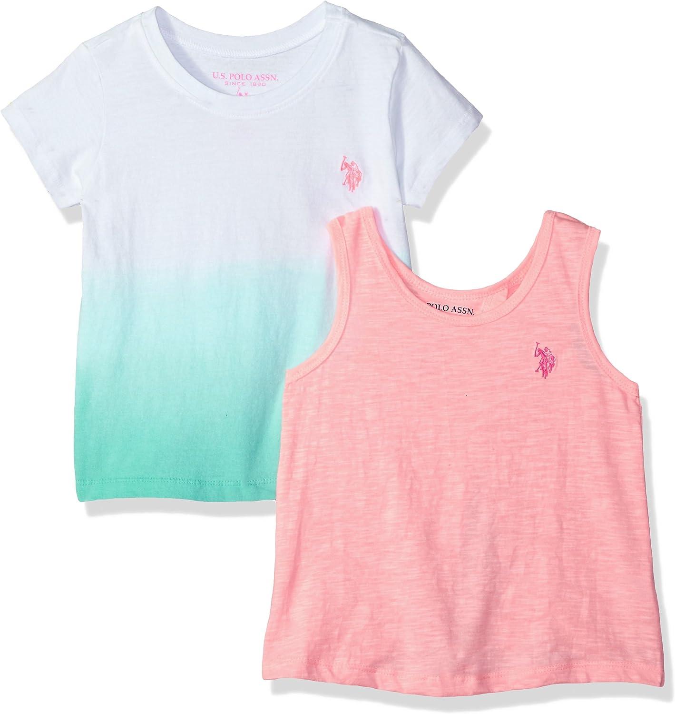 U.S. Polo Assn. Girls Big T Tank Shirt, Criss Cross Back dip dye ...