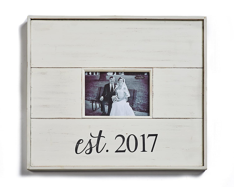 Amazon.de: Mud Pie 4695384 Distressed beplankten weiß Holz Est. 2017 ...