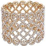 EVER FAITH Art Deco Love Knot Wide Stretch Bridal Bracelet Austrian Crystal