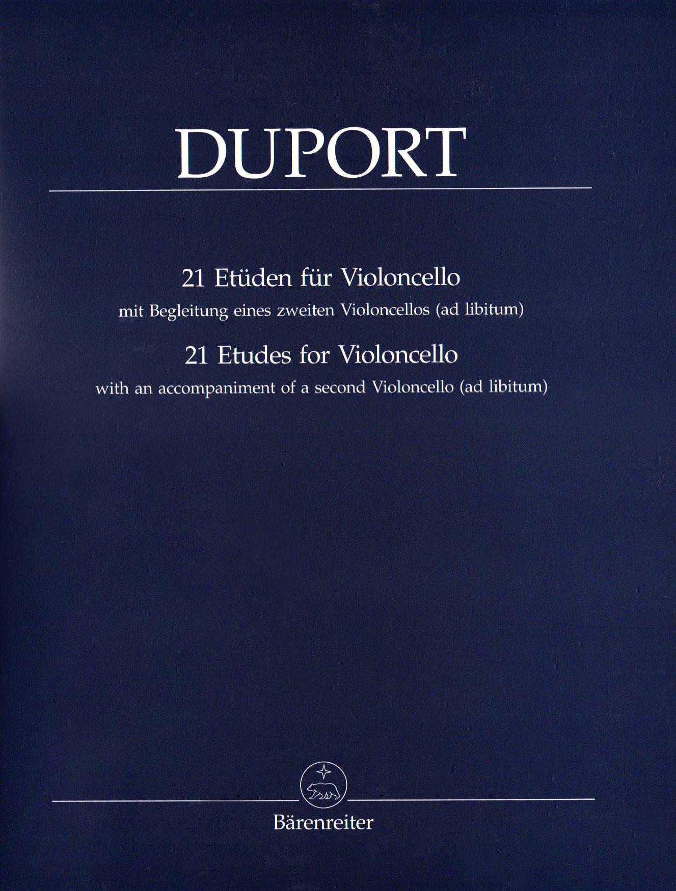 21 Etüden für Violoncello mit Begleitung eines zweiten Violoncello (ad libitum) Musiknoten – 1. Oktober 2005 Jean-Louis Duport Bärenreiter Verlag B000B5WQYC Musikalien