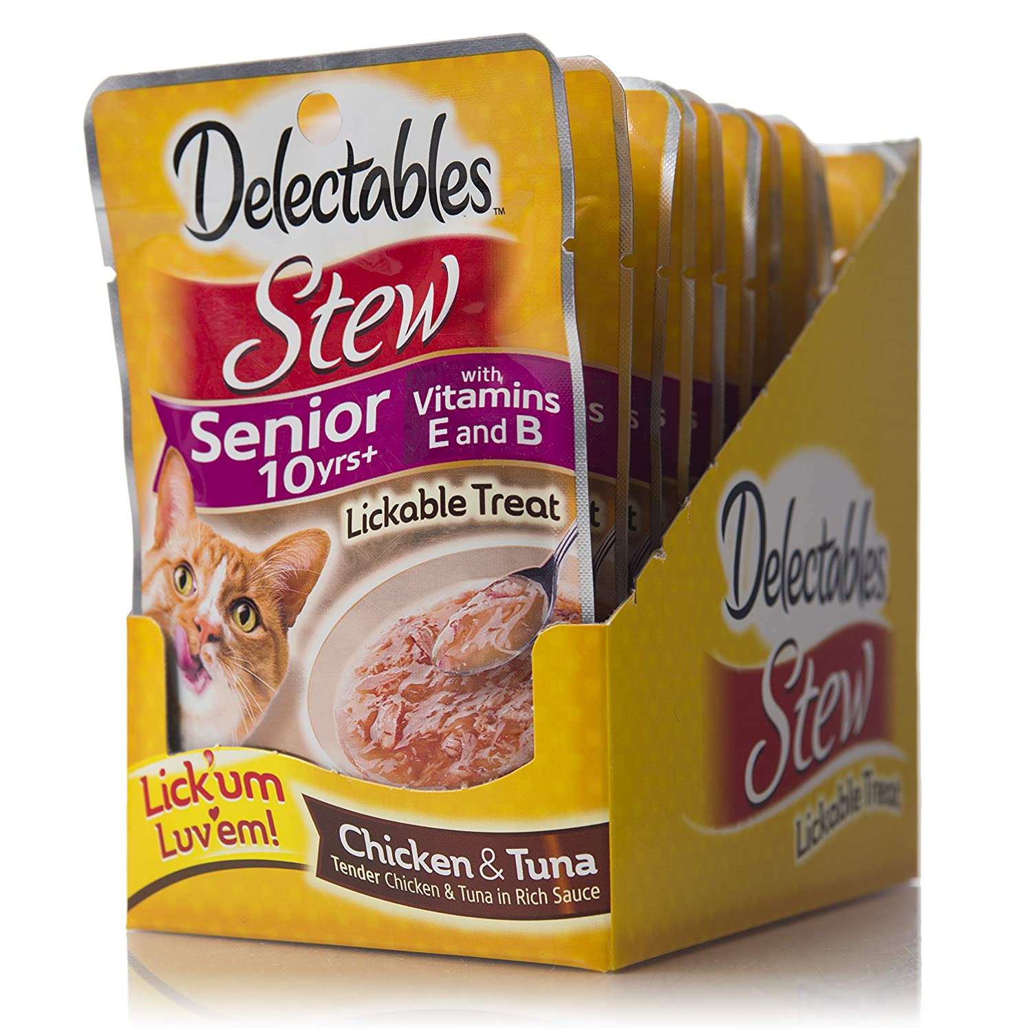 Delectables Stew Senior 10 Years + Lickable Wet Cat Treats - Chicken & Tuna