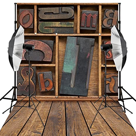 Kooer 5X7ft Photography Backdrops Wooden Letters On Wood Bookshelf Background
