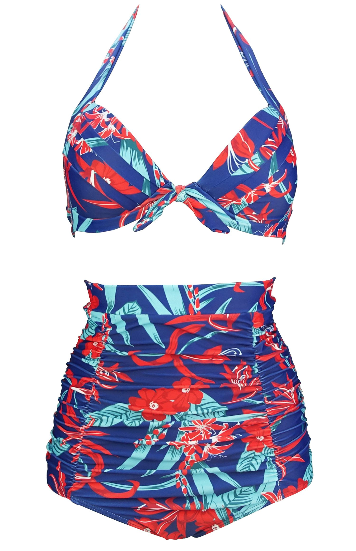 e60a789e72 Galleon - COCOSHIP Navy   Red White Pistil Bloom Tie Front Floral Top  Halter High Waist Bikini Set Ruched Bathing Waterwear S