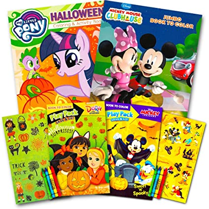 Disney Halloween Coloring Book Super Set For Kids Toddlers 3 Books Featuring Minnie Mouse