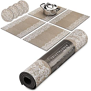 Jute and Lace Decorative Modular Trivet Runner for Table (4 pcs Placemats ) Extendable Hot Pad X-Long Design with coasters, Heat Resistant Surface,For Hot Plates, Pots, Dishes, Cookware, Kitchen
