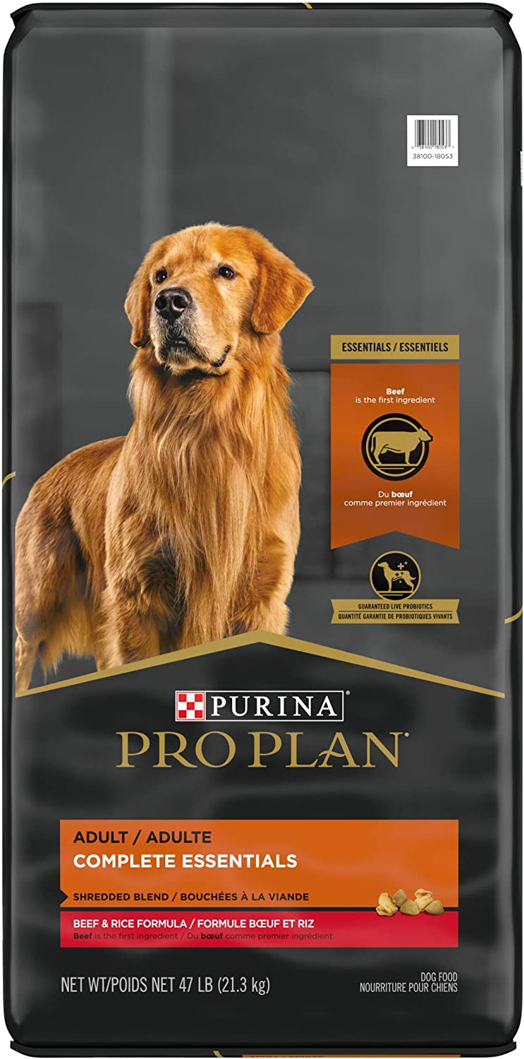 Purina Pro Plan With Probiotics, High Protein Dry Dog Food, Shredded Blend Beef & Rice Formula - 47 lb. Bag