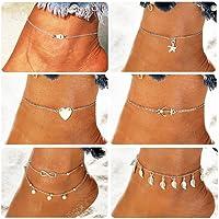 Suyi 6Pcs Catene di cavigliere di fascino perline regolabili per catene di gioielli da donna sexy da spiaggia