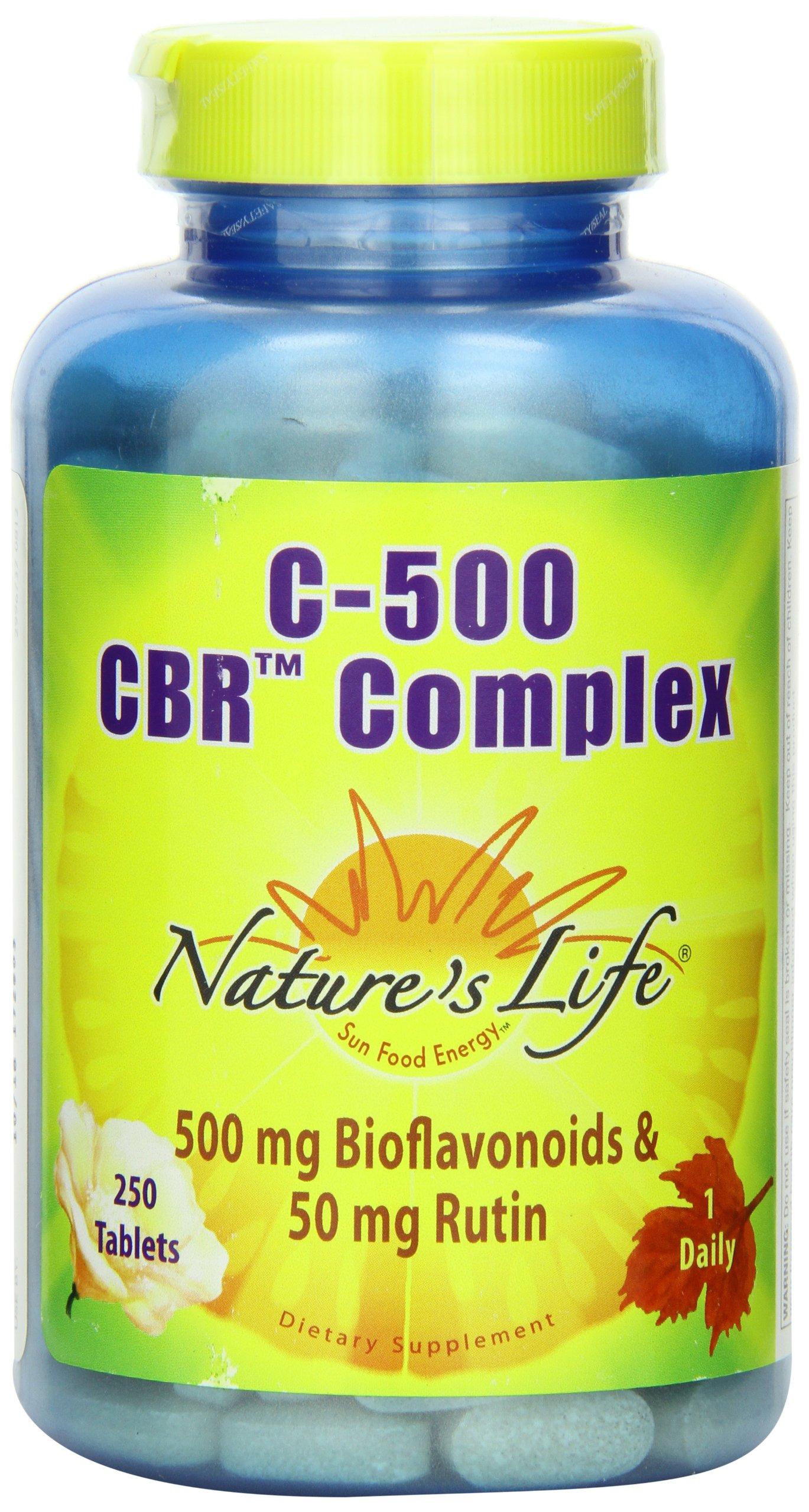Nature's Life, C-500 CBR Complex, Bioflavonoids 500mg & Rutin 50mg Tablets, 250-Count
