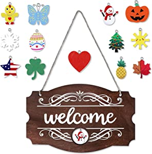 Interchangeable Seasonal Welcome Sign Front Door Decor Rustic Wood Welcome Sign Wall Hanging Porch Decoration for Fall Christmas Easter Valentines Thanksgiving, 14 x 9 Inch (Brown with White Letters)