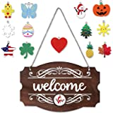 Interchangeable Seasonal Welcome Sign Front Door Decor Rustic Wood Welcome Sign Wall Hanging Porch Decoration for Fall…
