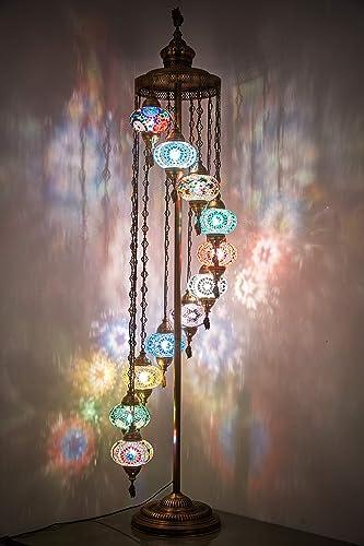 Demmex 2021 Turkish Moroccan Colorful Mosaic Multicolor 11 Big Globes Tallest Boho Floor Lamp