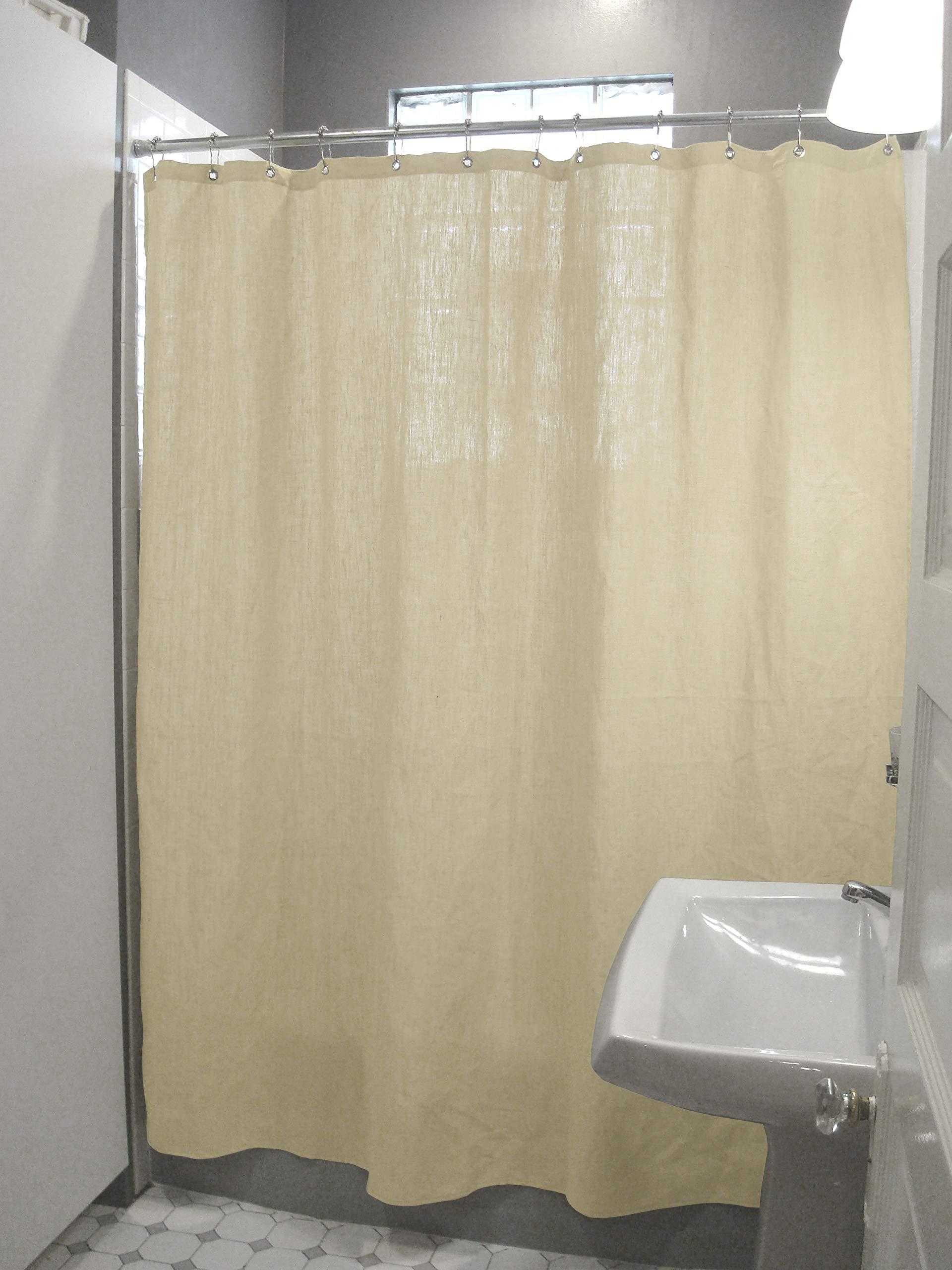 Bean Products Hemp Shower Curtain - 70'' x 74'' - Natural - Also Cotton, Hemp, Linen, Organic Cotton - Tub, Bath, Stall Sizes - Made in USA w/Rings