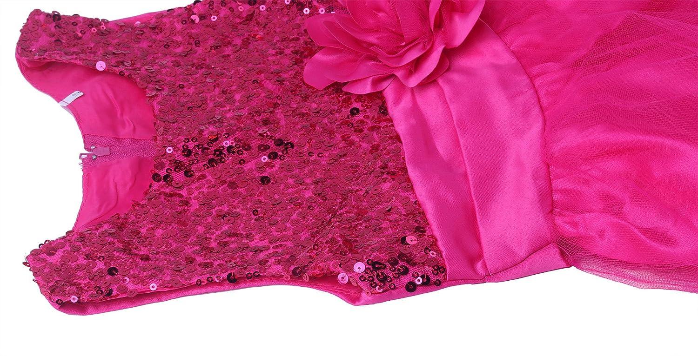 Wocau Little Girls Sequin Mesh Tull Dress Sleeveless Flower Party Ball Gown