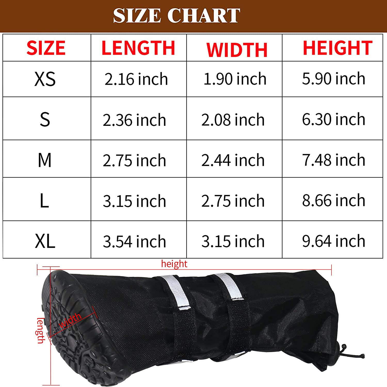 URBEST Dog Shoes Warm Lining Nonslip Rubber Sole for Snow Winter Only for Medium and Large Dogs 2 Pairs Waterproof Dog Boots S, Black