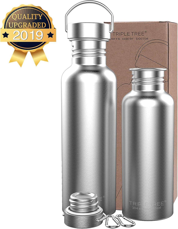Triple Tree Botella de Agua de Acero Inoxidable, 500ml 750ml 1l Deportes Botella para Actividades al Aire Libre