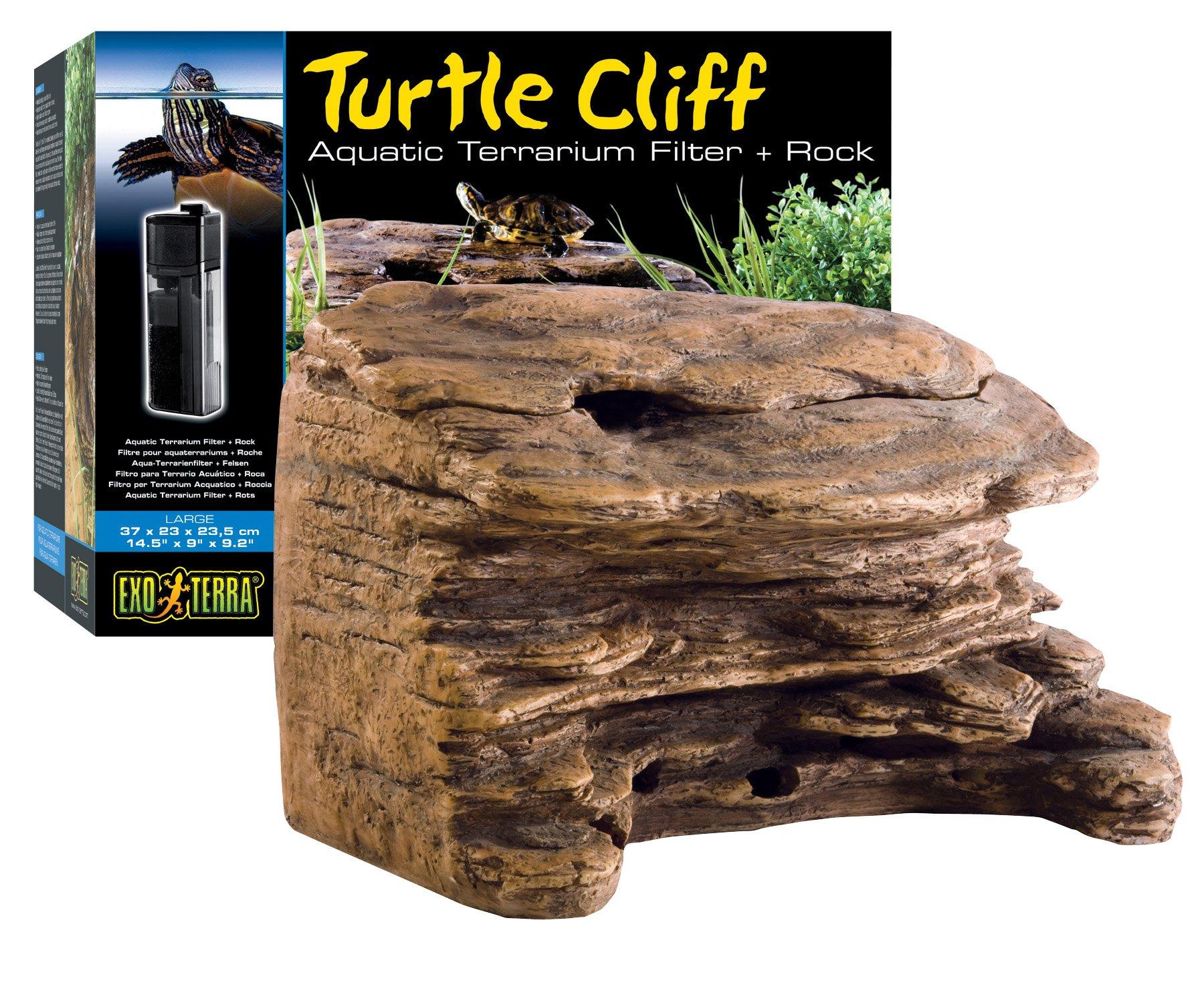 Exo Terra Turtle Cliff Aquatic Terrarium Filter/Rock, Large