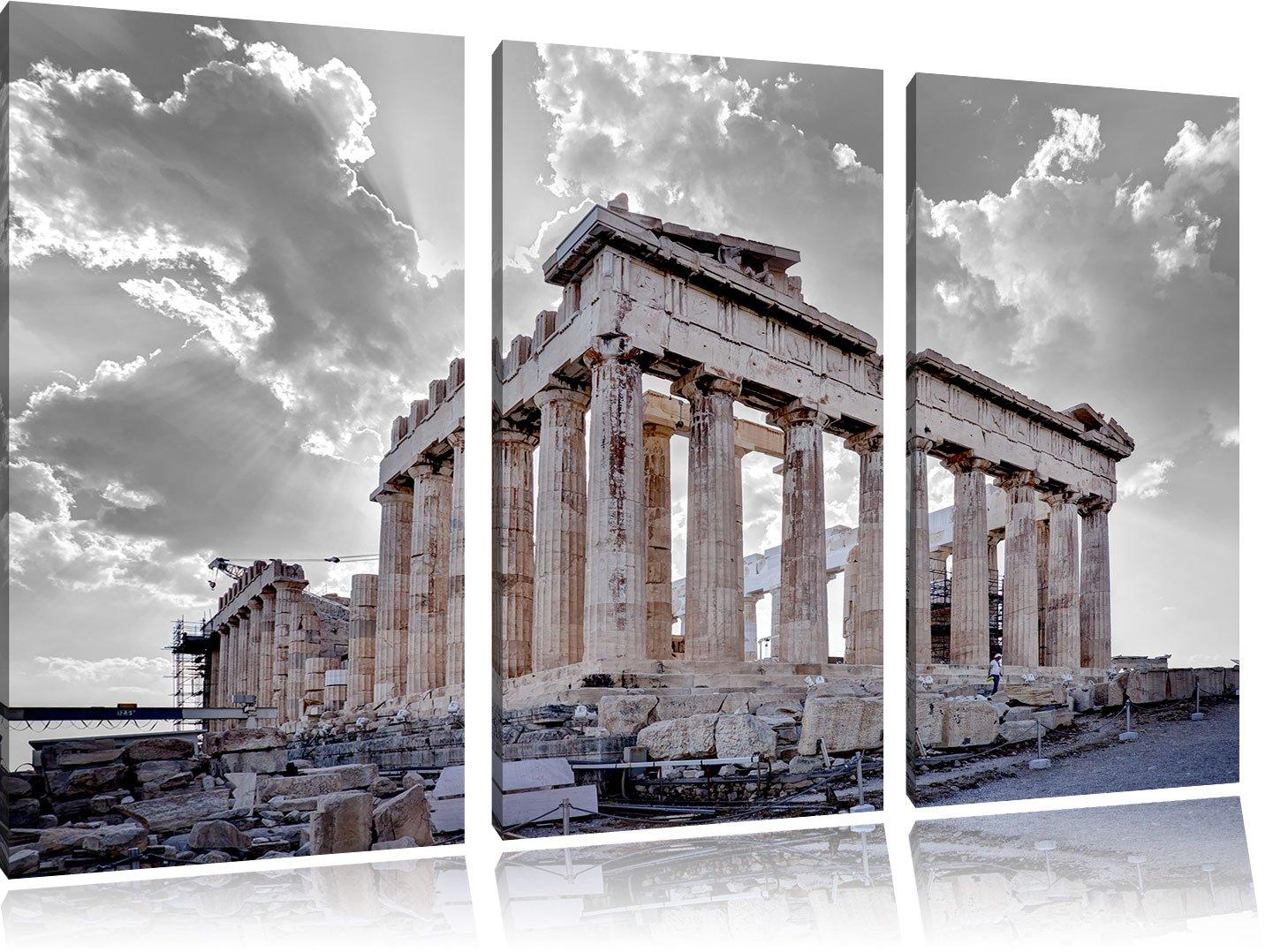 Propyläe von Akropolis in Athen schwarz weiß 3-Teiler Leinwandbild 120x80 Bild auf Leinwand, XXL riesige Bilder fertig gerahmt mit Keilrahmen, Kunstdruck auf Wandbild mit Rahmen, gänstiger als Gemälde oder Ölbild, kein Poster ode